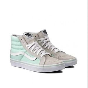 Vans Shoes - Vans Sk8 Hi Slim Bay True White Gray Green🌹 02ff5f0e2